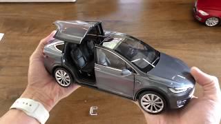 Розпакування та огляд офіційний Тесла модель Х 1:18 масштабі моделі опівночі срібло