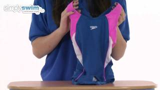 speedo girls endurance plus speedlane splashback in blue and pink www simplyswim com