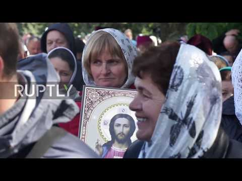 Ukraine: Moscow Patriarchate worshippers protest religious bills outside the Rada
