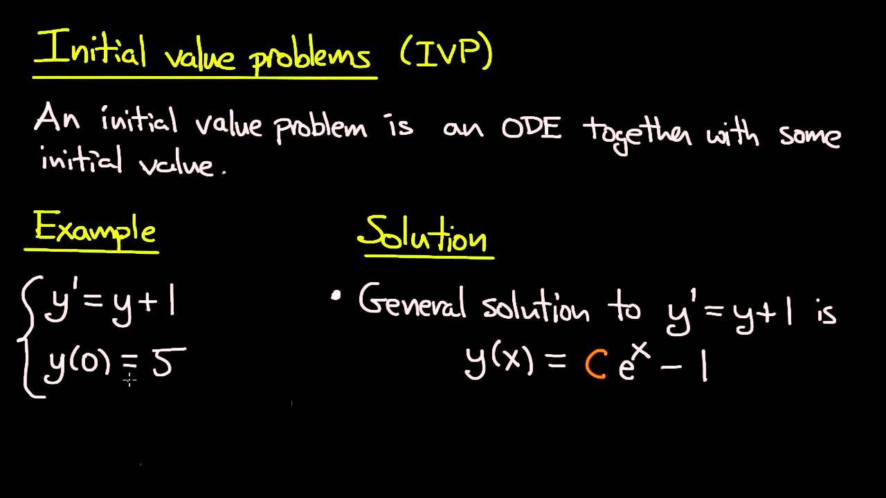 Ode Initial Value Problems Youtube