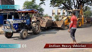 Swaraj 735 XT Tractor Breakdown On Side Of Road | Rescued By JCB | Mahindra 475 DI Stuck Dangerously