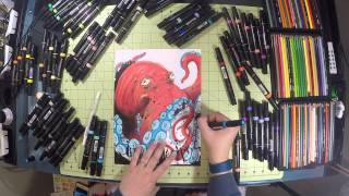 INDIA INK & PRISMACOLOR PREMIER DOUBLE-ENDED ART MARKERS OCTOPUS DRAWING