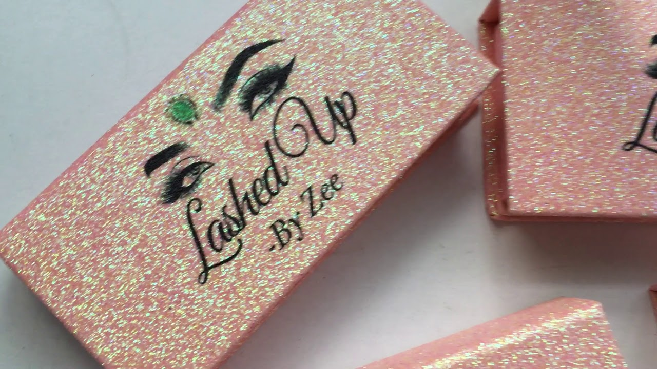 Pink glitter lash packaging box with Your Private Label how to start a lash  business easy !!!