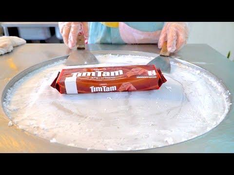 Tim Tam chocolate biscuit ice cream VS oreo cookie banana ice cream rolls challenge