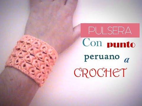 0671dea1688c PULSERA con punto peruano a CROCHET (zurdo)