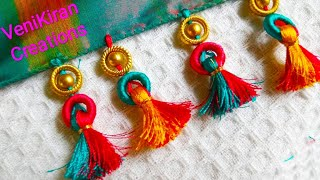 How To Make Saree Tassel/Kuchu Design With Beads @ Home - Design 24::Tutorial