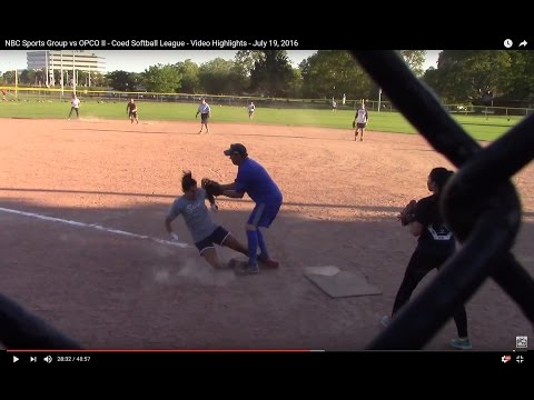 NBC Sports Group vs OPCO II - Coed Softball League - Video Highlights - July 19, 2016