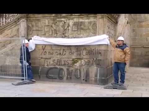 Aparecen nuevas pintadas en la catedral de Santiago