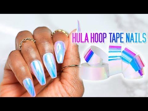 DIY Fake Nails Using HULA HOOP Tape   Unicorn 💅🏾