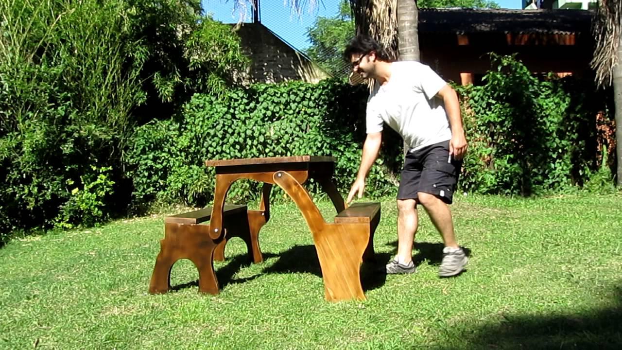 Mesa multifuncion de banco de jardin a mesa de picnic for Mesa y banco de jardin