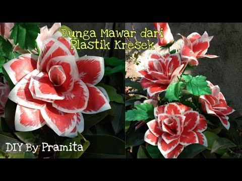 DIY Cara Membuat Bunga Mawar dari Plastik Kresek- How to make rose flower with plastic bag