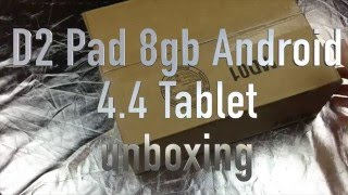 "D2 Pad D2-741G 7"" 8GB Android 4.4 Tablet Unboxing"