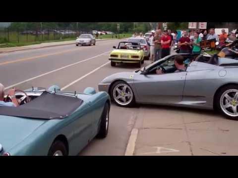 Cars leaving Fuel Cars & Coffee in Cincinnati 5/28/16