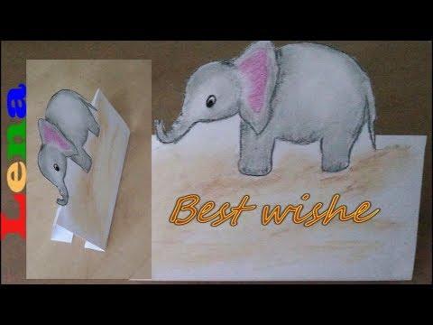 Faltkarte Basteln Elefanten Zeichnen How To Make A Fold Card