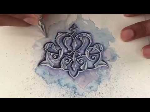 Islamic art - watercolour painting - tezhip - islimi - speed painting
