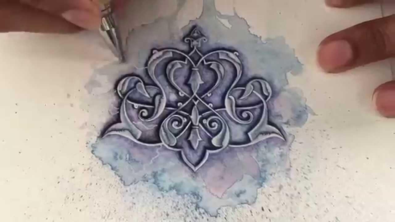 Islamic art - watercolour painting - tezhip - islimi