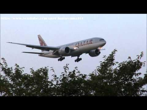 9/13 Qatar (Boeing 777-2DZ/LR) Landing Narita RWY16R!!成田空港 !!さくらの山!!
