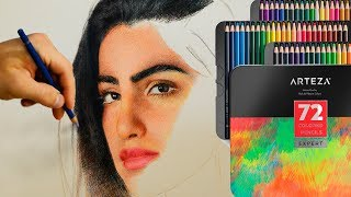 А Вы пробовали цветные карандаши Arteza? Рисую портрет новыми материалами😄