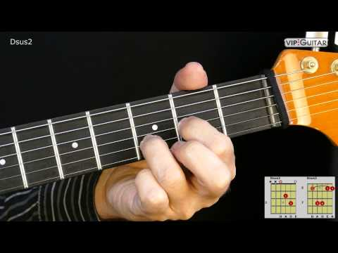 Gitarrenakkorde Dsus2  Dsus2 chord