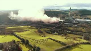 Demolition in slow motion filmed from our drone
