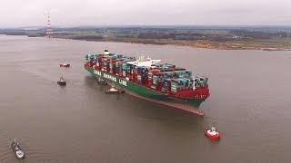 CSCL Indian Ocean auf Grund gelaufen - Haverie auf der Elbe
