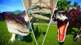 Indoraptor vs Indominus Rex vs Blue - Jurassic World Evolution