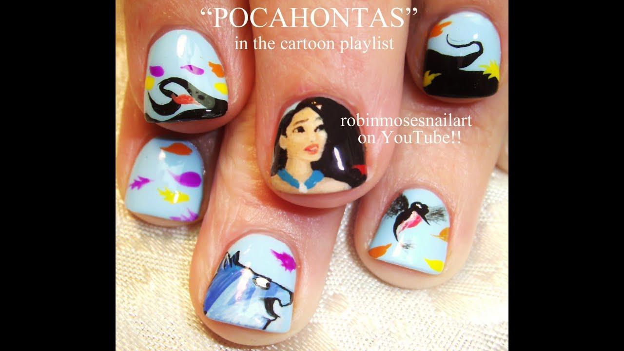 Dress Disney Princess Nails: DIY Pocahontas Nail Art Design