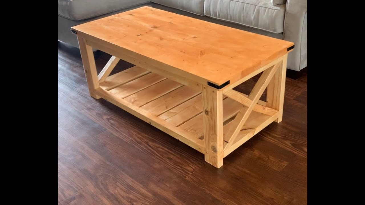 rustic x coffee table step by step process diy inspired by ana white