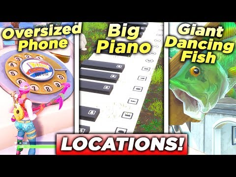 """""""Visit an Oversized Phone, a Big Piano, and a Giant Dancing Fish trophy"""" ALL 3 LOCATIONS FORTNITE!"""