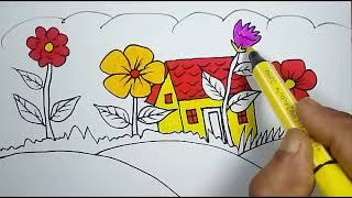 How to draw scenery, drawing & Coloring | Drawing for Kids, children's & beginners step by step