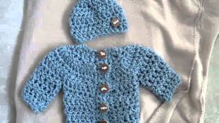 Baby Cardigan Sweater Set, How To Crochet,
