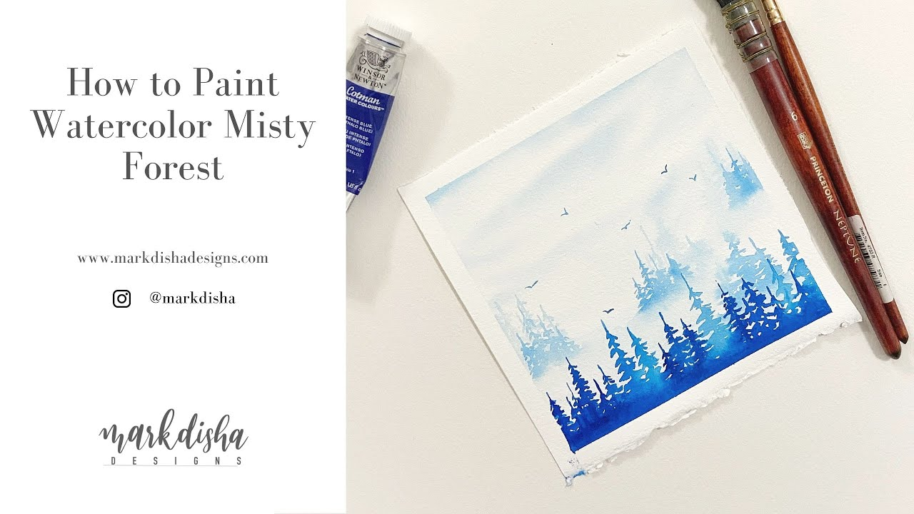 How to Paint Misty Pine Forest Using Watercolors