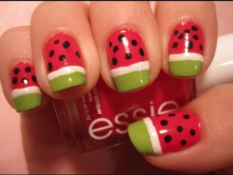 tutorial watermelon nail art