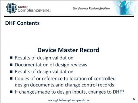 regulatory documents explained dhf dmr dhr and tf