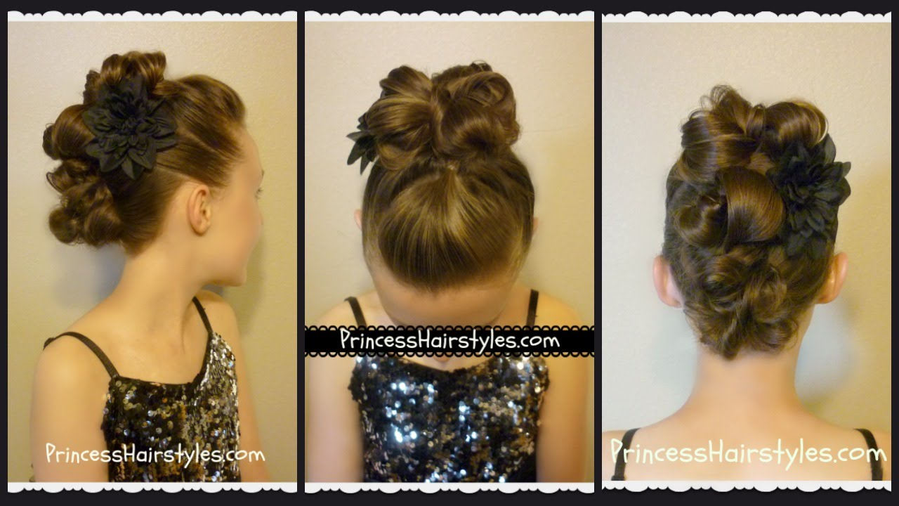 messy bun faux hawk for long hair, dance hairstyles