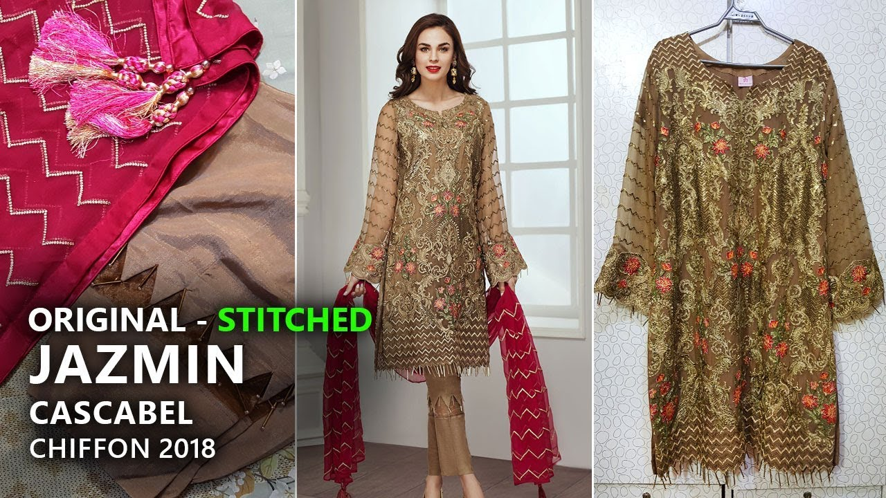 5d65a29a75 Jazmin Chiffon Collection 2018 - Stitched Cascabel Pakistani Branded Clothes