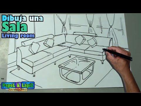 Dibujar f cil una sala muebles y mesa living room - Como hacer un plano de una casa ...