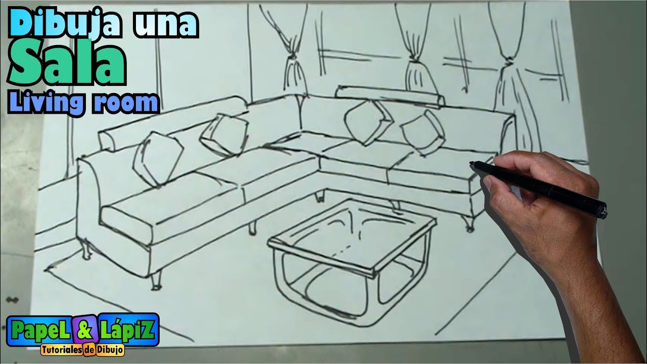 Dibujar Facil Una Sala Muebles Y Mesa Living Room Drawing