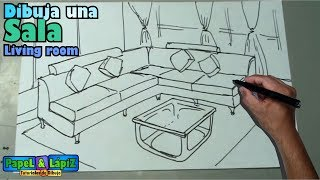 Dibujar fácil una sala, muebles y mesa - Living room drawing, forniture
