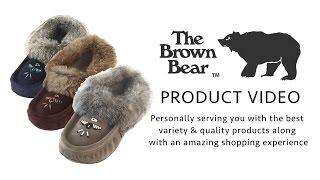 Women's Laurentian Chief Rabbit Fur Trim Fleece Lined Canada Moccasin Slippers