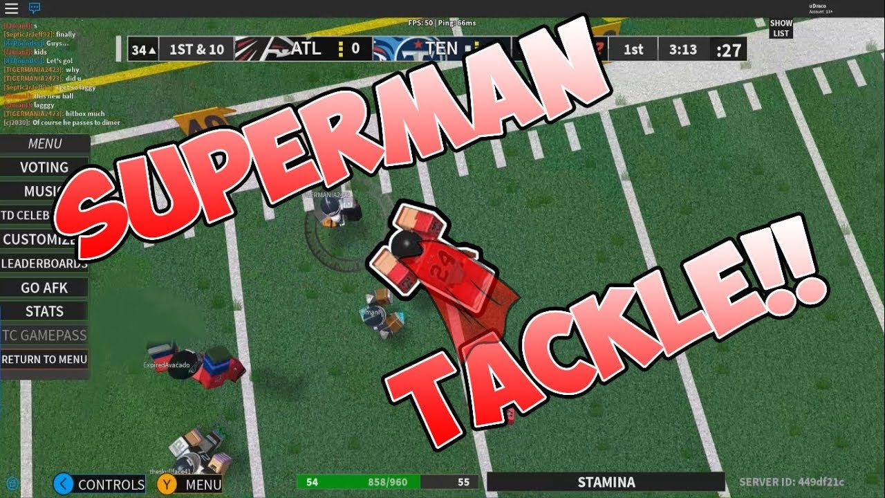 Superman Tackle Roblox Nfl 2 Funny Moments 2 Youtube