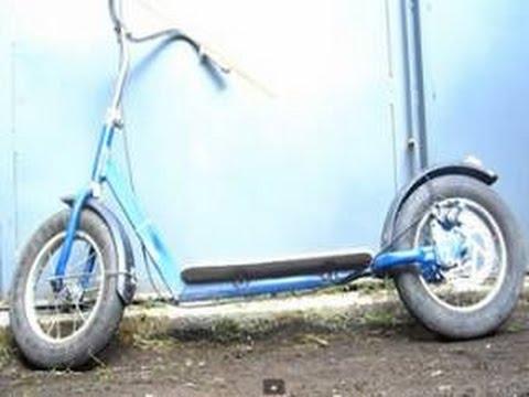 Cмотреть онлайн Самокат из детского велосипеда
