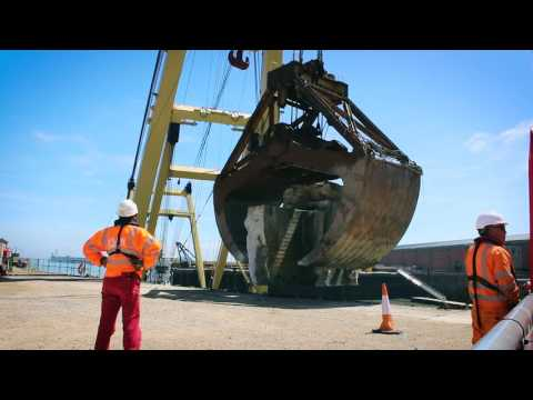 Marine demolition of 4000+ tonnes of reinforced concrete using diamond wire sawing at Dover Harbour