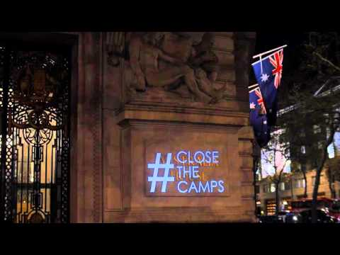 Refugees Welcome Guerilla Projection onto Australia House, London