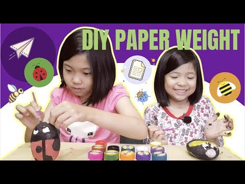 vlog026 Paper Weight Stone | DIY Paper Weight Bee, LadyBug and Minions