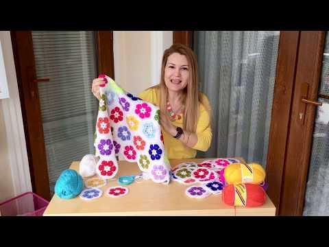 Tığ işi kolay battaniye modeli yapılışı, örgü çiçek motifi yapılışı. Easy crochet blanket pattern