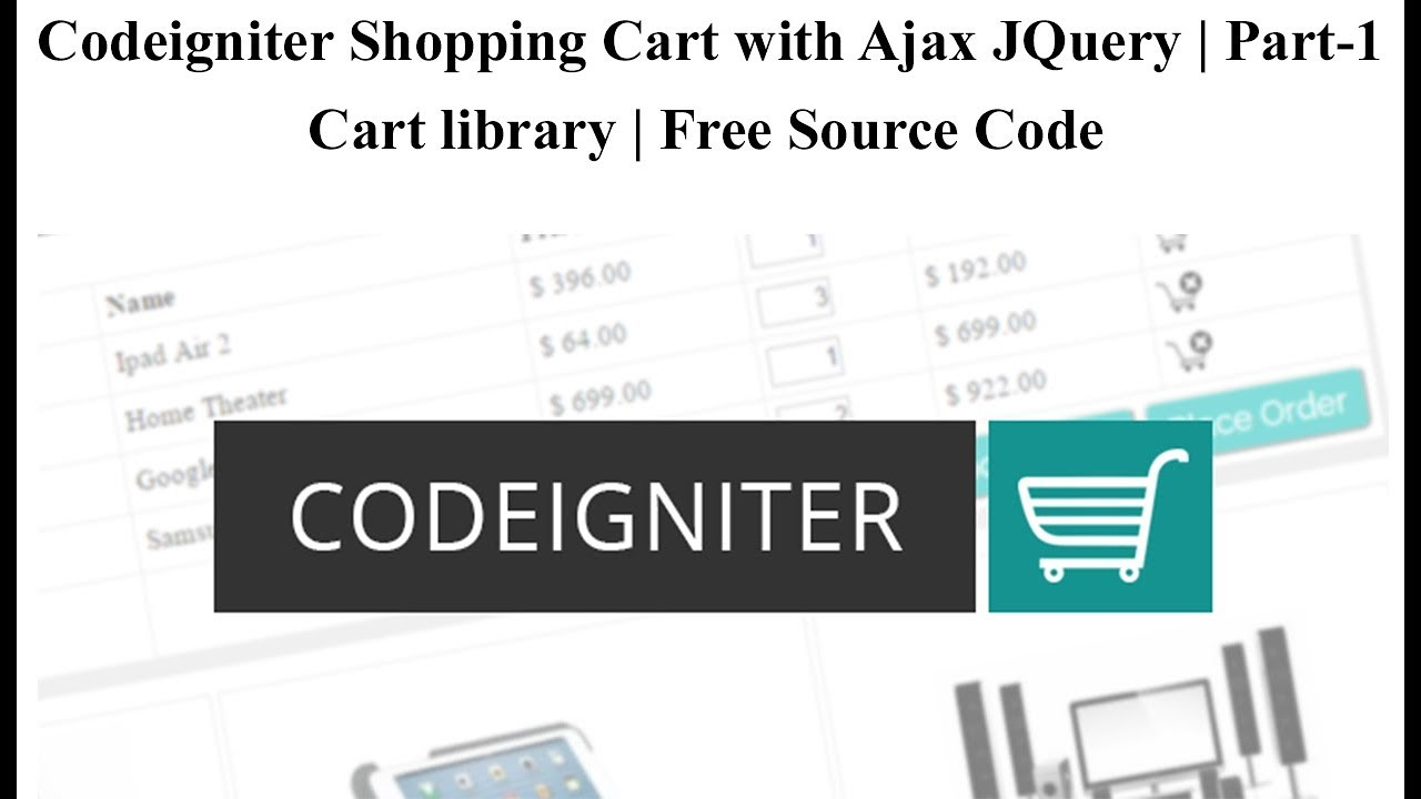 Codeigniter Shopping Cart with Ajax JQuery | Cart library | Free Source  Code | Part-1 🔥🔥