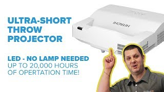 Hitachi LP-AW Ultra-Short Throw LED Projector - Up to 20,000 Hours of Lamp Life!