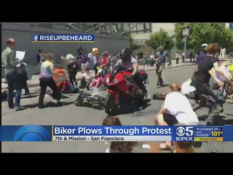 Motorcyclist Plows Through Healthcare Protest In San Francisco