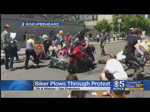 Motorcyclist Plows Through Healthcare Protest In San Francisco